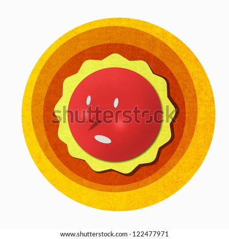 Abstract recycled paper craft on white background, The sun temperature. - stock photo