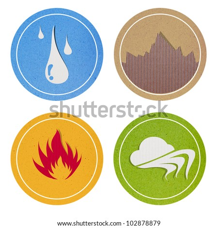 Abstract recycled papercraft on white background, 4 element , The Four Elements - stock photo