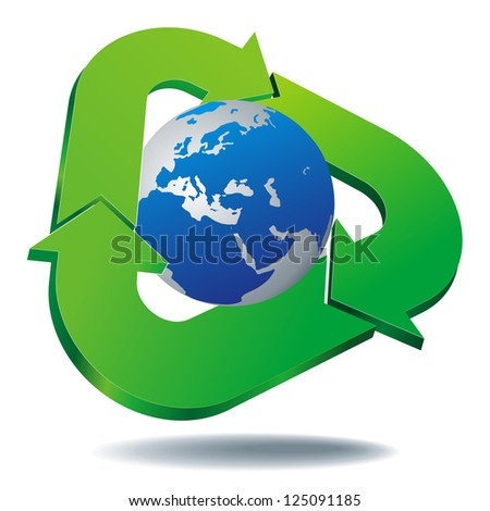 abstract recycled sign icon with green arrows and Earth globe inside