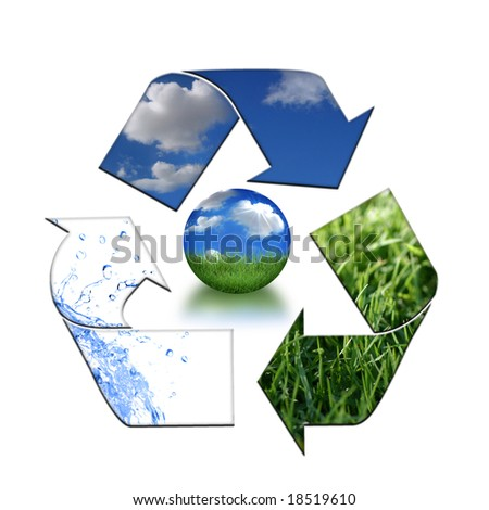 Abstract Recycling Symbol Representing Air, Land and Sea - stock photo