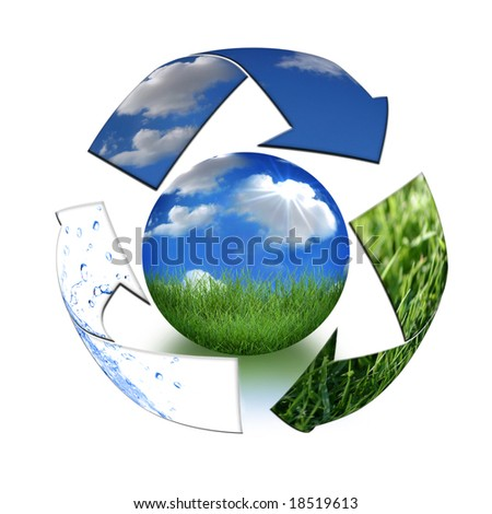 Abstract Recycling Symbol Representing Air, Land and Sea Surrounding Planet Earth - stock photo