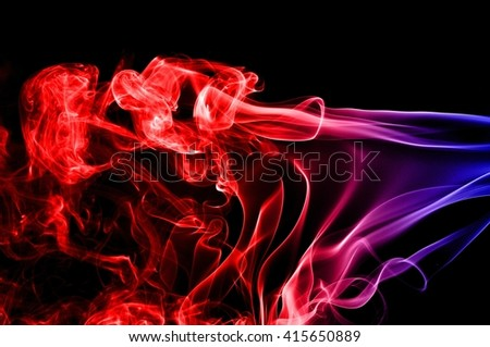 Abstract red and blue smoke on black background, smoke background,colorful ink background,red and Blue fire,beautiful color smoke - stock photo