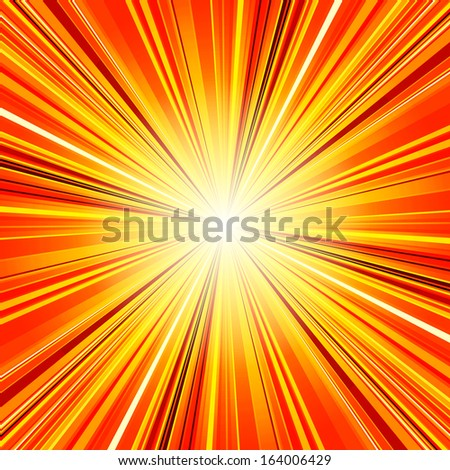 Abstract red and orange stripes burst background