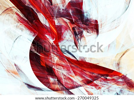 Abstract red and white motion composition. Modern bright futuristic dynamic background for wallpaper, interior, flyer cover, poster, banner, booklet. Fractal art for creative graphic design.