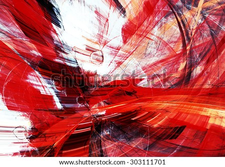 Abstract red and white motion composition. Modern bright futuristic dynamic background for wallpaper, interior, flyer cover, poster, banner, booklet. Fractal art for creative graphic design. - stock photo