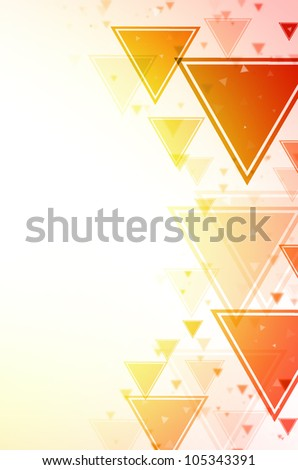 Abstract red and yellow triangle background. - stock photo