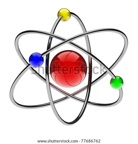 Abstract red atom (done in 3d, isolated) - stock photo