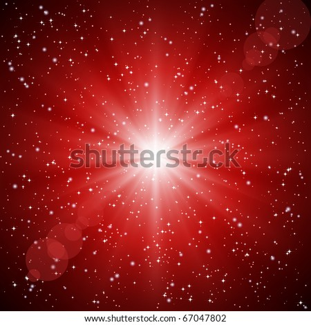 Abstract red background of luminous rays and stars. - stock photo