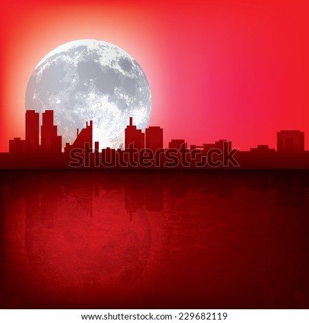 abstract red background with silhouette of city and moon - stock photo