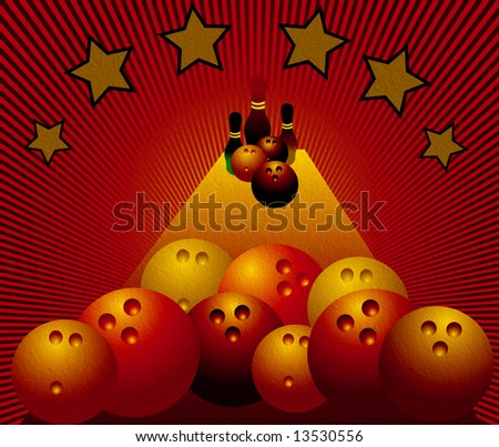 Abstract red background with stars, skittles and colored bowling balls - stock photo