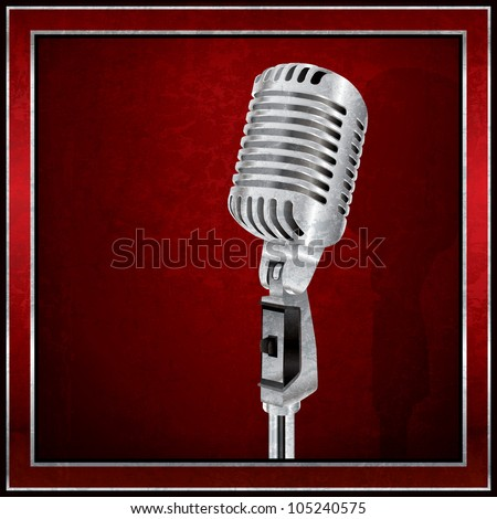 Abstract red background with the retro microphone - stock photo
