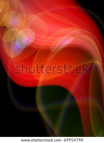 Abstract red, black and beige background. Space for text isolated on solid black color. - stock photo