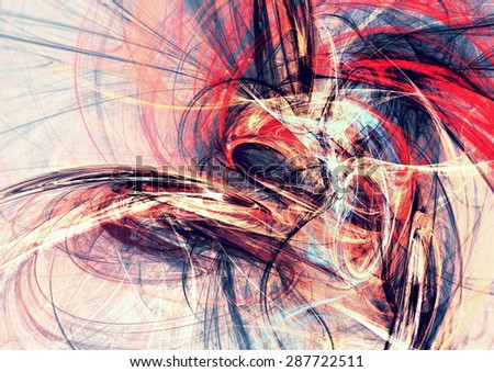 Abstract red, blue and white motion composition. Modern bright futuristic dynamic background for wallpaper, interior, flyer cover, poster, banner, booklet. Fractal art for creative graphic design. - stock photo