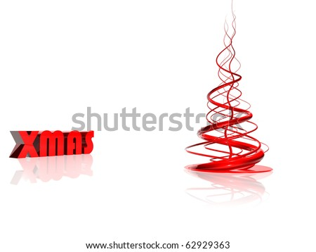 Abstract red christmas tree over white - stock photo