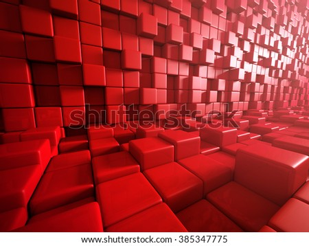 Abstract Red Cubes Blocks Wall Background. 3d Render Illustration - stock photo