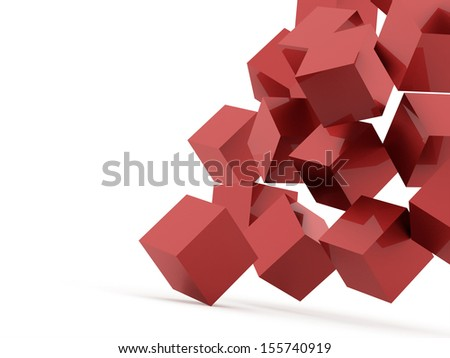 Abstract red cubes concept rendered on white background - stock photo
