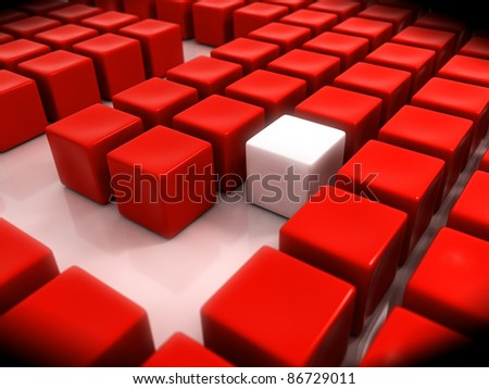 Abstract Red Cubes Maze - stock photo