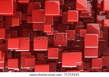 Abstract red 3D cubes