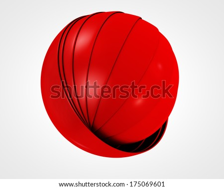 abstract red globe symbol, isolated icon, business concept - stock photo