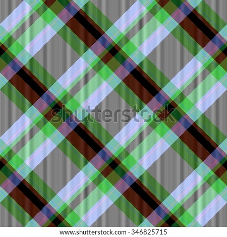 Abstract red green gray brown  black checked crossover striped diagonally seamless pattern - stock photo