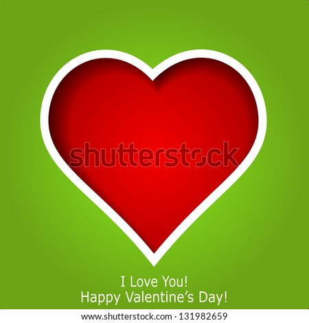 Abstract red heart cutted from green paper background. Valentines day greeting card. Raster copy of vector illustration