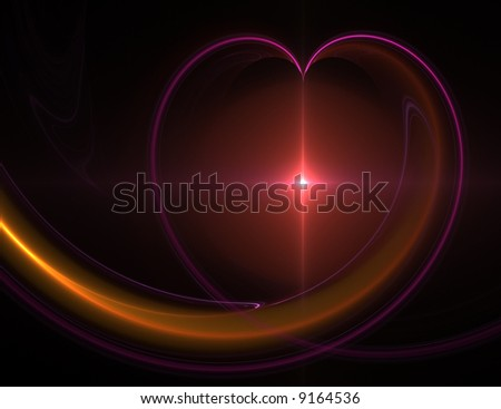 abstract red heart fractal - stock photo