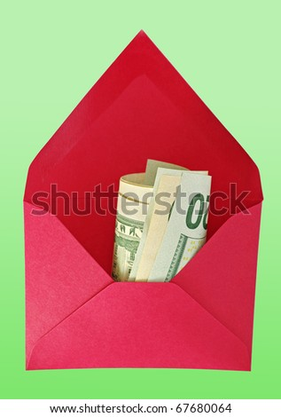 Abstract red house-envelope with dollars on the green background. - stock photo