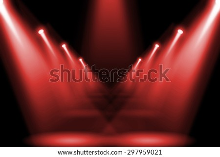 Abstract red lighting flare on the floor center stage. - stock photo