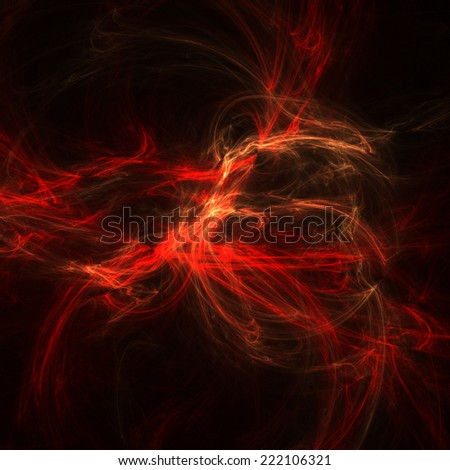 Abstract red line fractal illustration with black background.