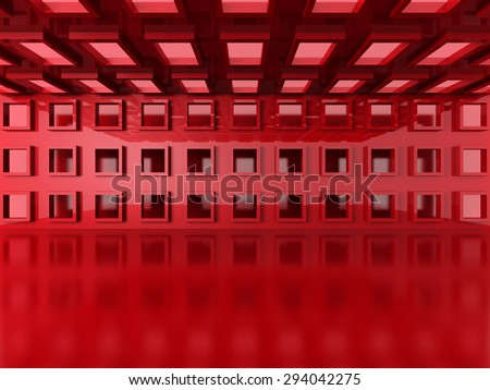 Abstract Red Modern Interior Architecture Background. 3d Render Illustration - stock photo