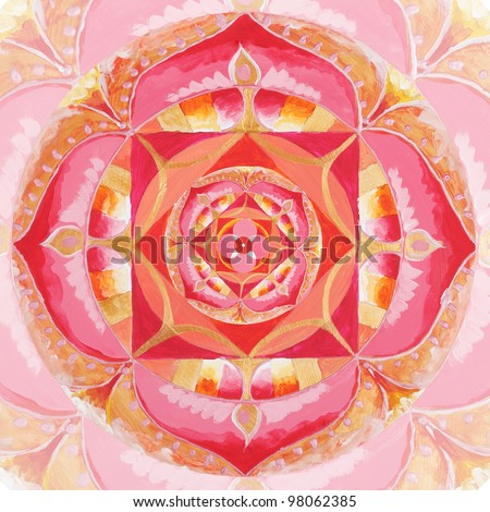 abstract red painted picture with circle pattern, mandala of muladhara chakra - stock photo
