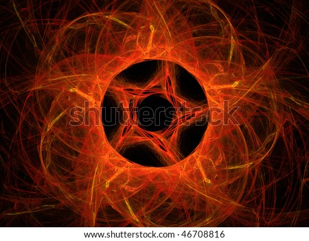 Abstract red pentagram background on black - stock photo