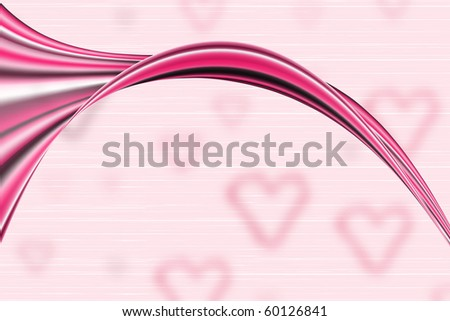 Abstract red/pink flow over soft-focus hearts - stock photo
