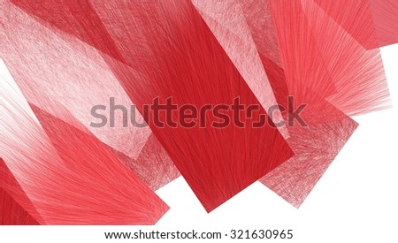 abstract red rectangles layered in artsy design with detailed transparent brush strokes of feathery lines in material texture - stock photo