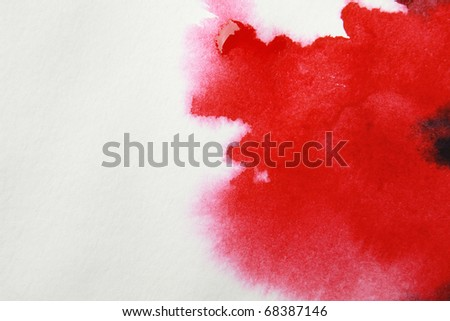 Abstract red watercolor hand painted background - stock photo