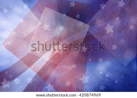 abstract red white and blue background with white stars and red and white curving stripes, July 4th background. Memorial day background. Election day background. - stock photo