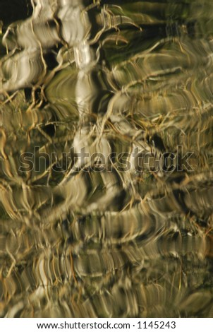 Abstract reflections of trees on the water. - stock photo