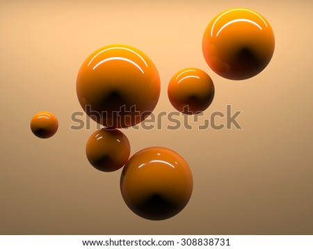Abstract reflective spheres at orange background - stock photo