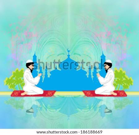 abstract religious background - muslim men praying  - stock photo