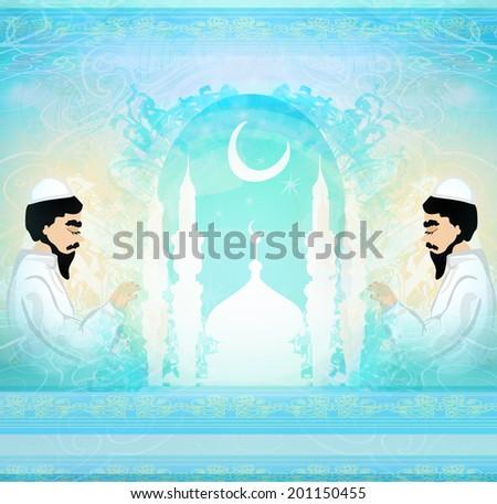 abstract religious card - muslim man praying  - stock photo