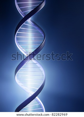 Abstract render of a glowing DNA strand - stock photo