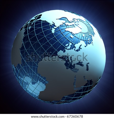 Abstract render of planet earth with wire-frame in space - stock photo