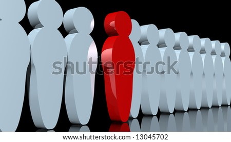 abstract rendering of men-like pawns with one red man standing out - stock photo