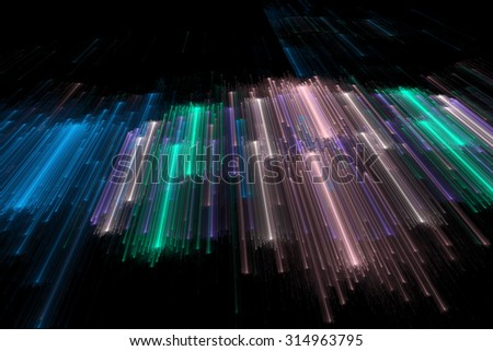 Abstract representation of futuristic space matrix or space travel, composed of illuminated lines in three-dimensional space.