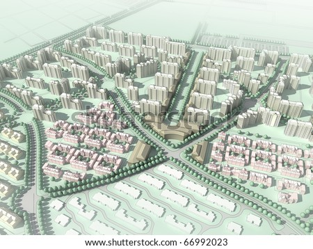 abstract residential community - stock photo