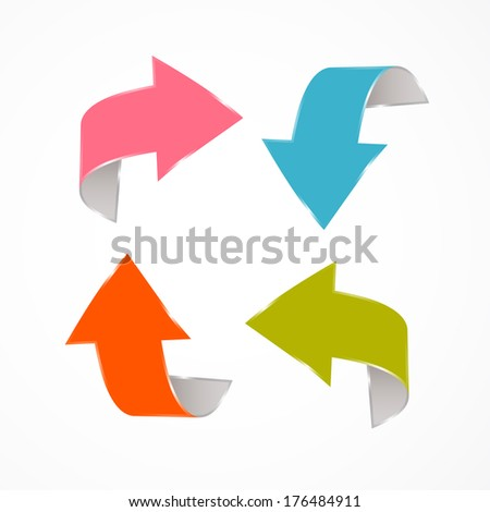 Abstract Retro Arrows Isolated on White Background