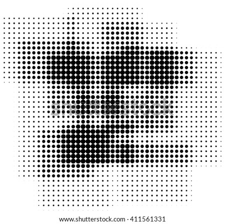 Abstract retro halftone dots box shaped background isolated on white  - stock photo