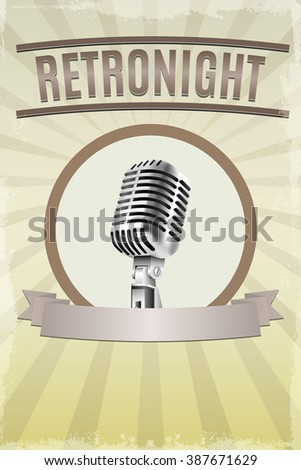 Abstract Retro microphone music background. Template, banner, poster for music party. illustration. Raster version - stock photo