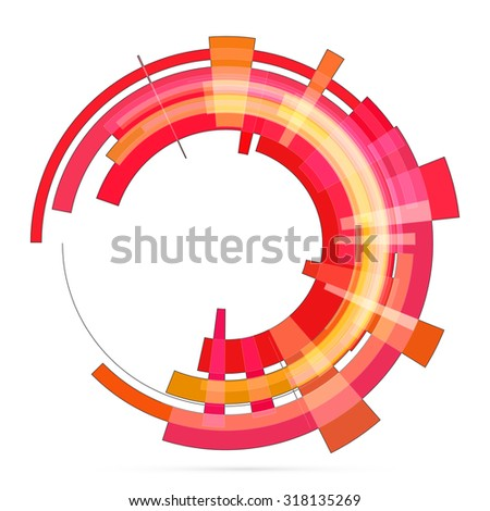 Abstract retro technology circle. Raster illustration. 1 - stock photo