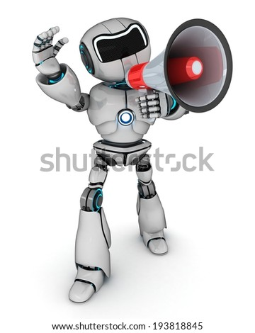 Abstract robot and megaphone (done in 3d) - stock photo